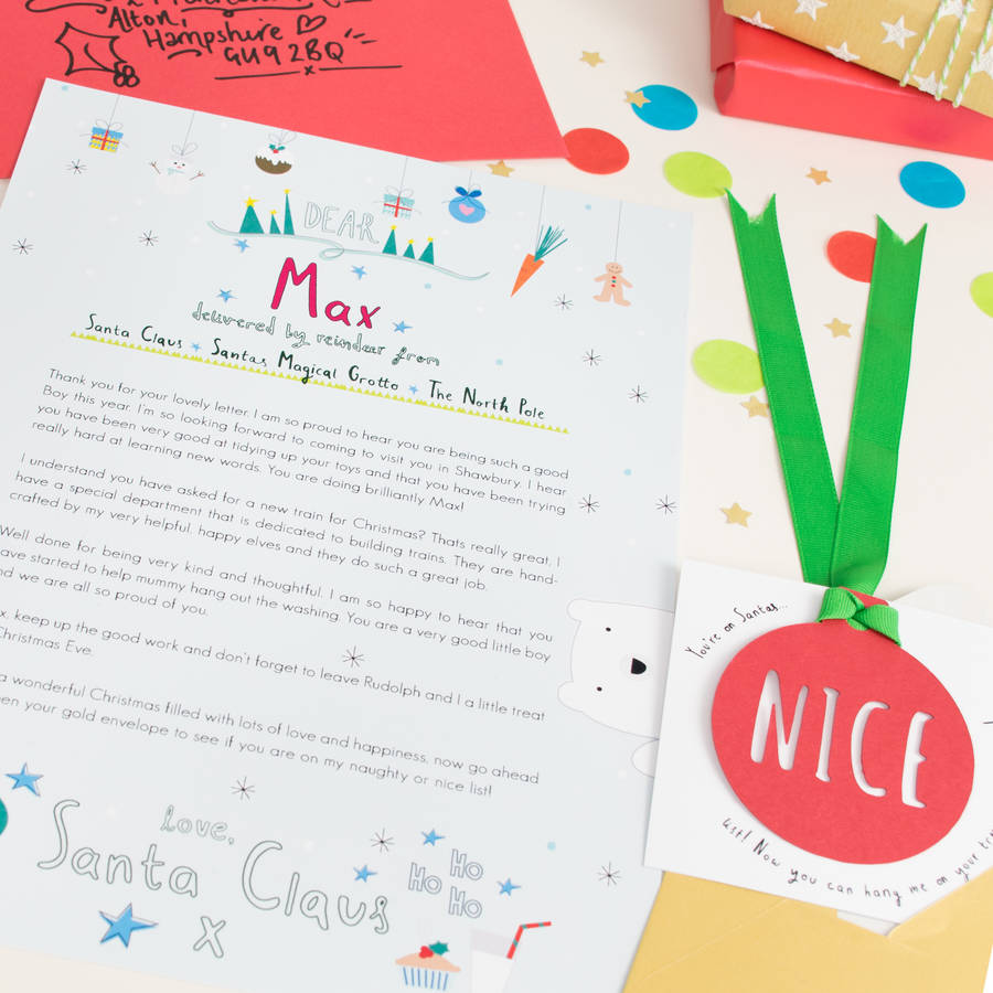 personalised letter from santa by rocks design