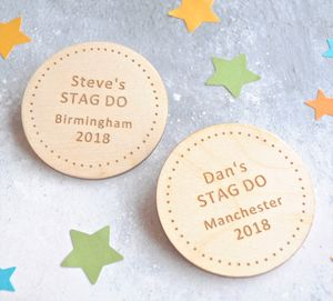 Personalised Stag Do Dotty Badges - personalised jewellery