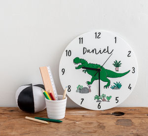boys bedroom dinosaurs theme personalised clock clocks - Bedroom Clock