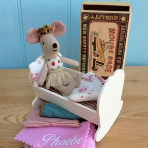 Tiny Baby Mouse And Wooden Cradle