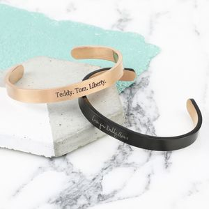 Personalised Men's Brushed Stainless Steel Bar Bangle - bracelets