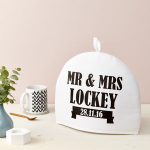 Personalised Mr And Mrs Tea Cosy Various Colours
