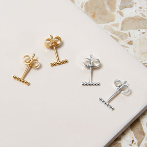 Sterling Silver Mini Ball Bar Stud Earrings