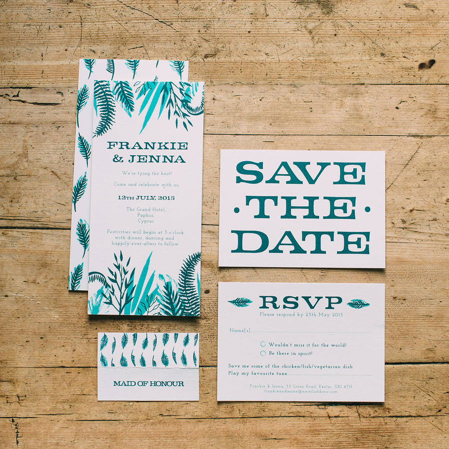 Tropical Leaf Wedding Stationery Collection