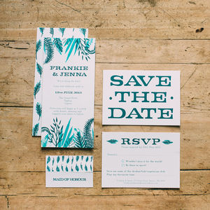 Tropical Leaf Wedding Stationery Collection - invitations