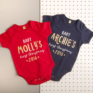 Personalised 'First Christmas' Baby Grow - clothing