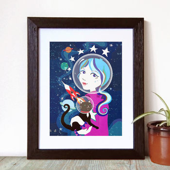Space Cat Art Print, Space Kitty Art
