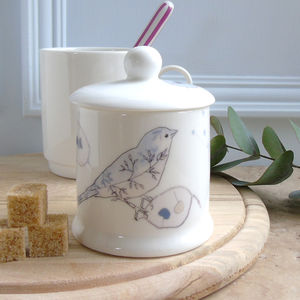 Honesty And Chaffinch Sugar Or Jam Bone China Pot