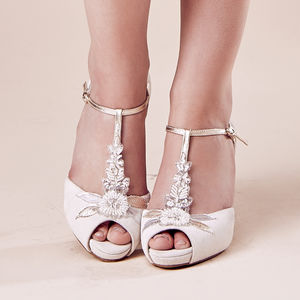 Ivory Suede Wedding T Bar Platform Hermione - shoes