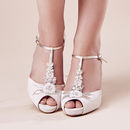 Ivory Suede Wedding T Bar Platform Hermione