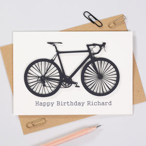 Personalised Cyclists Papercut Bicycle Birthday Card
