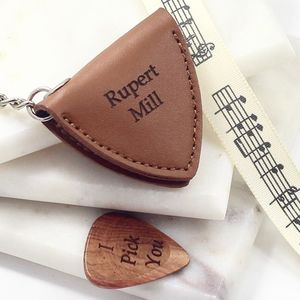 Personalised Leather Rock Guitar Pick Holder - for him