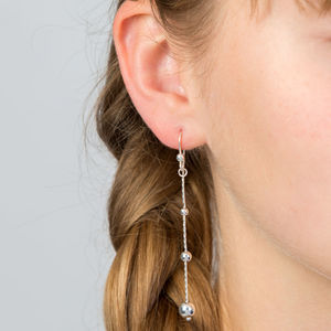 Cascading Balls Silver Earrings