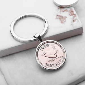 Farthing 1948 70th Birthday Coin Keyring - women's accessories