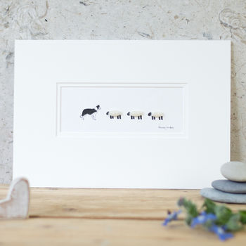 Border Collie And Woolly Sheep Hand Finished Art Print
