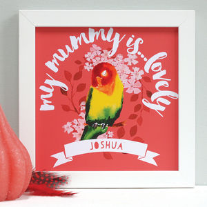 Personalised Cute Mummy Bird Framed Print - drawings & illustrations
