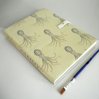 Customised journal leather octopus print Tovi Sorga recycled paper