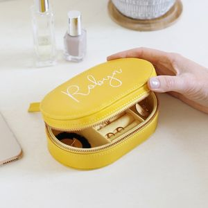 Personalised Oval Travel Jewellery Box In Yellow - storage & organisers