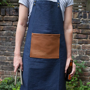 Denim Faux Leather Personalised Artisan Apron - kitchen accessories
