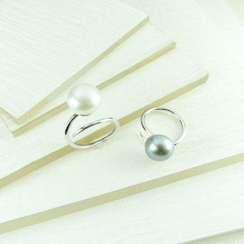 Silver And Pearl Curved Ring