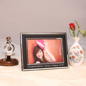 Personalised Black Silver Photo Frame Landscape - picture frames