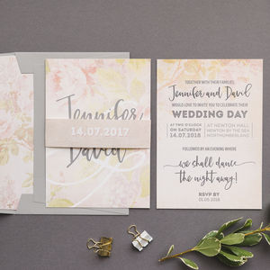 Vintage Peach Rose Wedding Invitation
