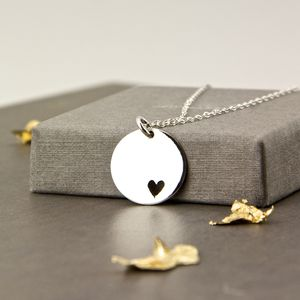Sterling Silver Disc With Heart Cutout Necklace - necklaces & pendants