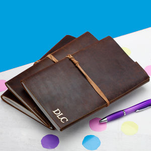 Personalised Leather Travel Journal - notebooks & journals