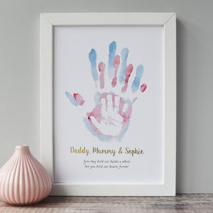 Personalised Daddy Mummy And Child's Handprint Print