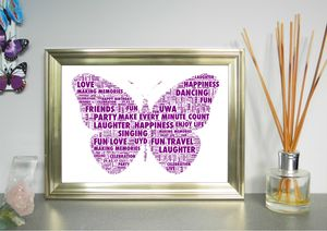 Personalised Butterfly Word Art Print - baby's room