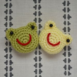 Handmade Crocheted Amigurumi Frog Brooch - view all new
