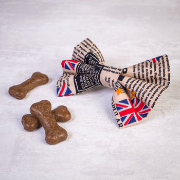 Union Jack Slide On Collar Dog Bow For Girl Or Boy Dogs