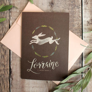 Floral Hare Personalised Greeting Card