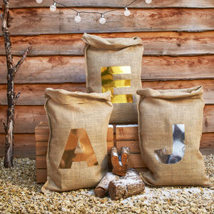 Metallic Christmas Initial Sack - stockings & sacks