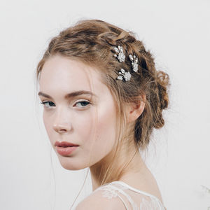 Crystal And Pearl Flower Wedding Hairpin Saffron - bridal hairpieces