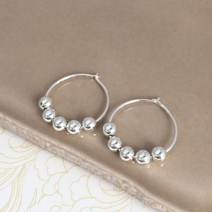 50th Birthday Silver Bead Earrings