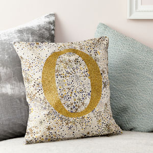 Personalised Liberty Cushion Glitter And Adelajda Gold