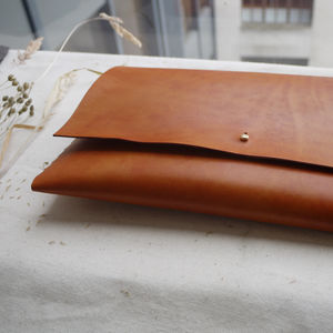 Handmade Leather Interlocking Clutch Bag - evening bags