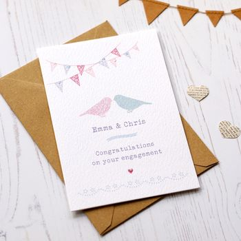 Love Birds Personalised Engagement Card