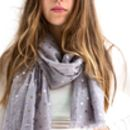 Mink Grey And Gold Dot Scarf