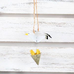 Hanging Seagull With Stolen Chips Decoration - decorative accessories