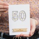 Personalised Marquee Lights 50th Birthday Card