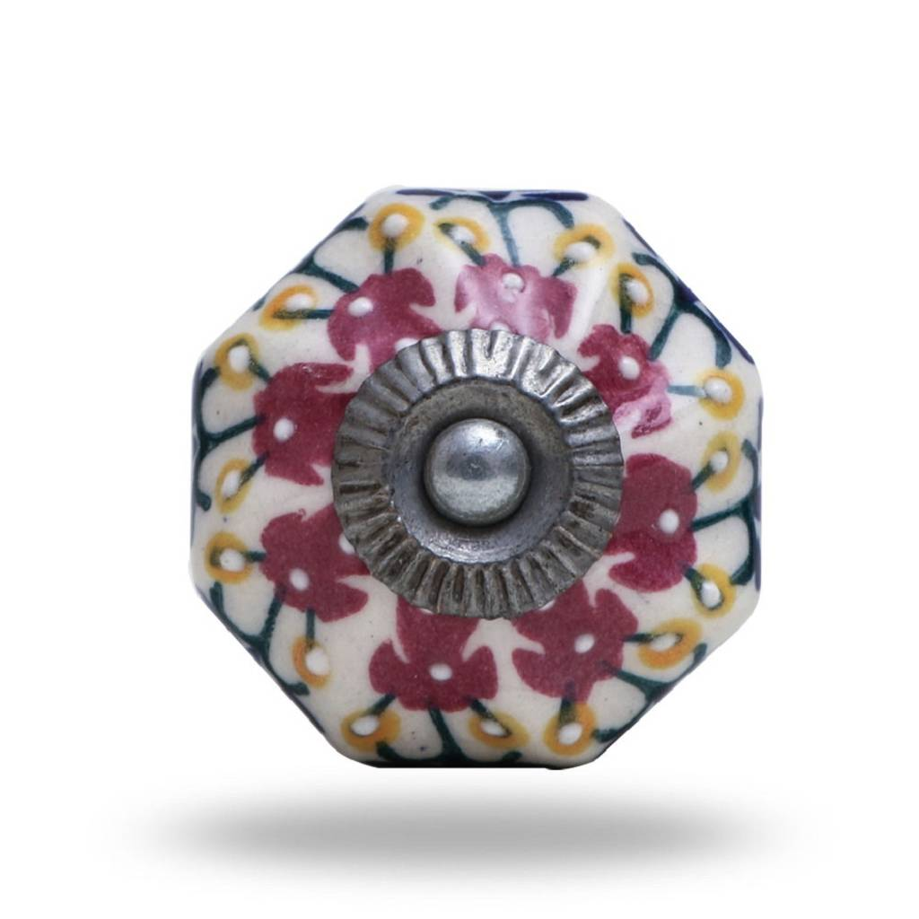 Kensal Flower Ceramic Knob Brushed Chrome