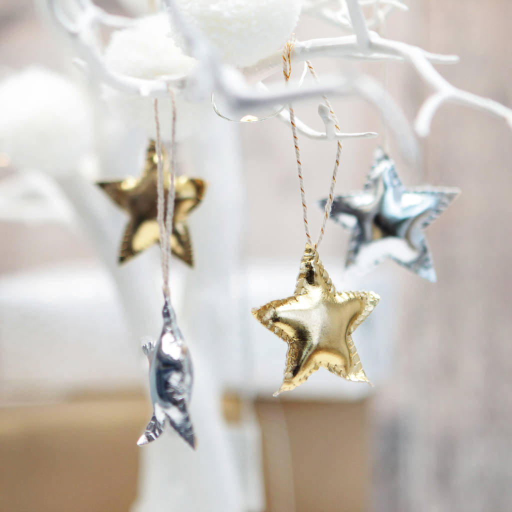 Foil Christmas Tree.4x Gold And Silver Foil Star Christmas Tree Decorations