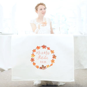 Personalised Autumn Wedding Table Runner