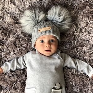 Boys Double Pom Pom Knitted Baby Hat