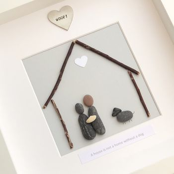 Personalised Family Dog Pebble People Picture Artwork