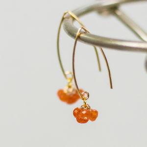 Orange And Gold Cluster Earrings - earrings
