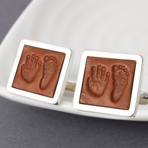Handprint And Footprint Cufflinks In Leather And Silver
