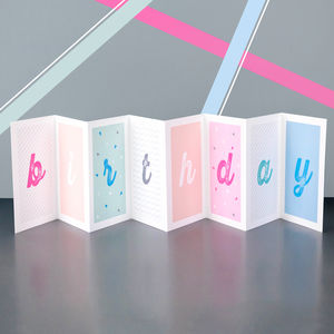Personalised Pastel Birthday Concertina Card - birthday cards